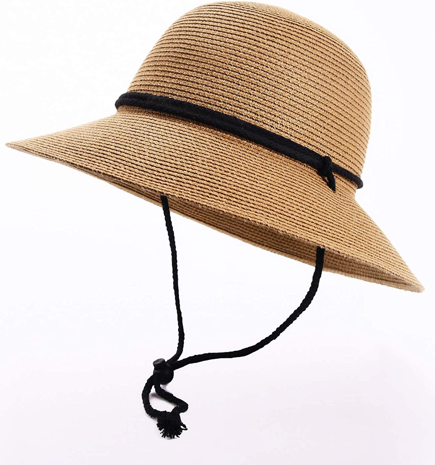 Womens Wide Brim Sun Hat with Wind Lanyard UPF Summer Straw Sun Hats for Women at  Women's Clothing store