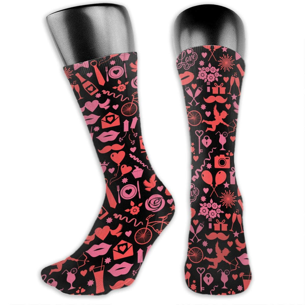 0400bbd10ea4 Amazon.com: OFFWAYA Womens Valentines Lip Cupid Red Wine Casual Crew Socks  Casual Holiday Socks Colorful Pattern Dress Socks - Novelty Gift for  Valentine's ...