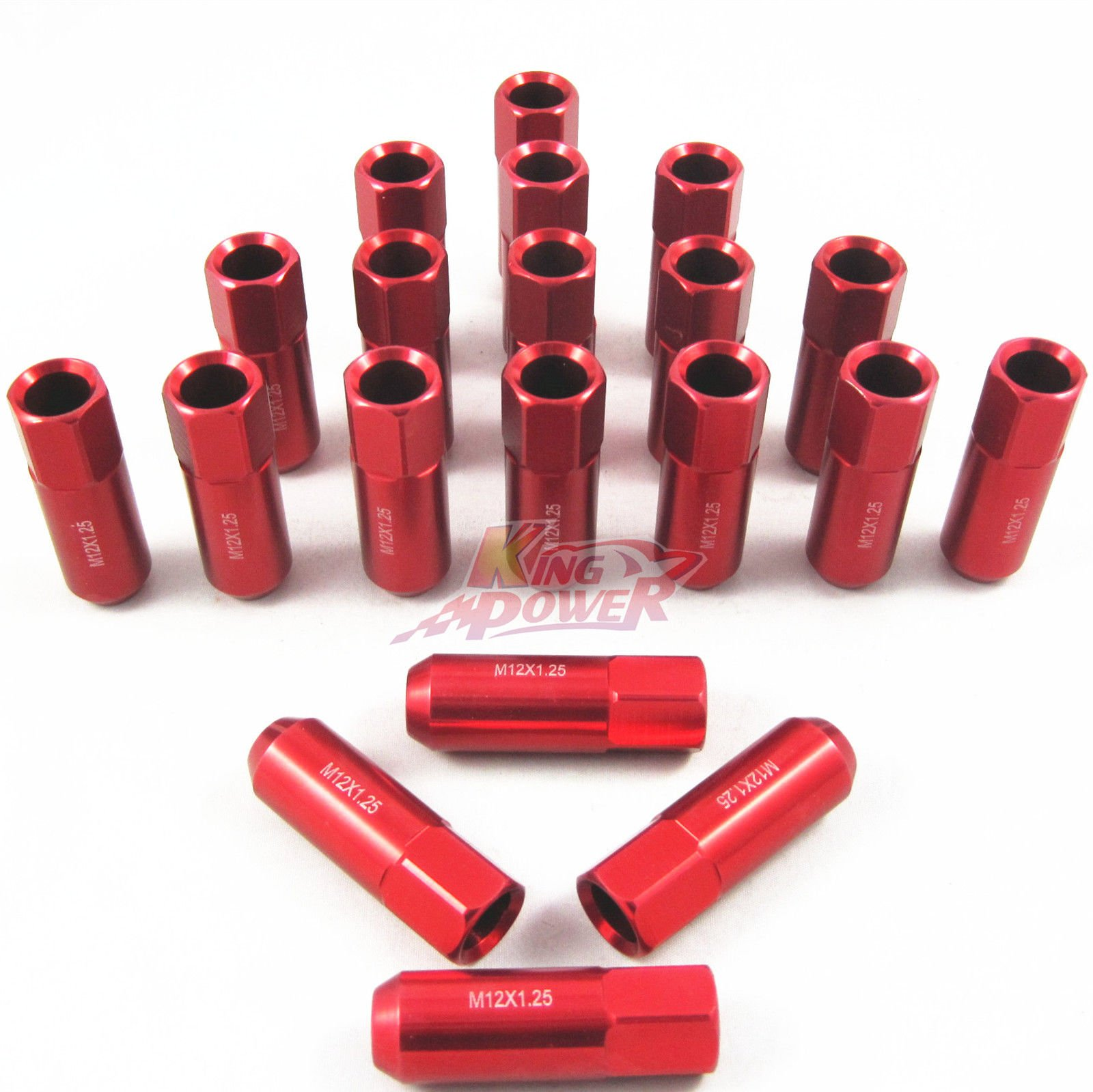 NEW Model 2017 20 RED 60MM ALUMINUM EXTENDED TUNER LUG NUTS LUGS FOR WHEELS/RIMS M12X1.25 RD by ANLO Trading