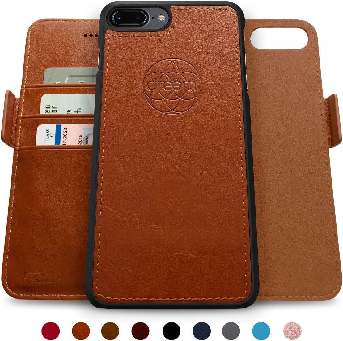 Dreem Fibonacci 2-in-1 Wallet-Case for iPhone 8-Plus & 7-Plus, Magnetic Detachable Shock-Proof TPU Slim-Case, RFID Protection, 2-Way Stand, Luxury Vegan Leather, GiftBox - Caramel