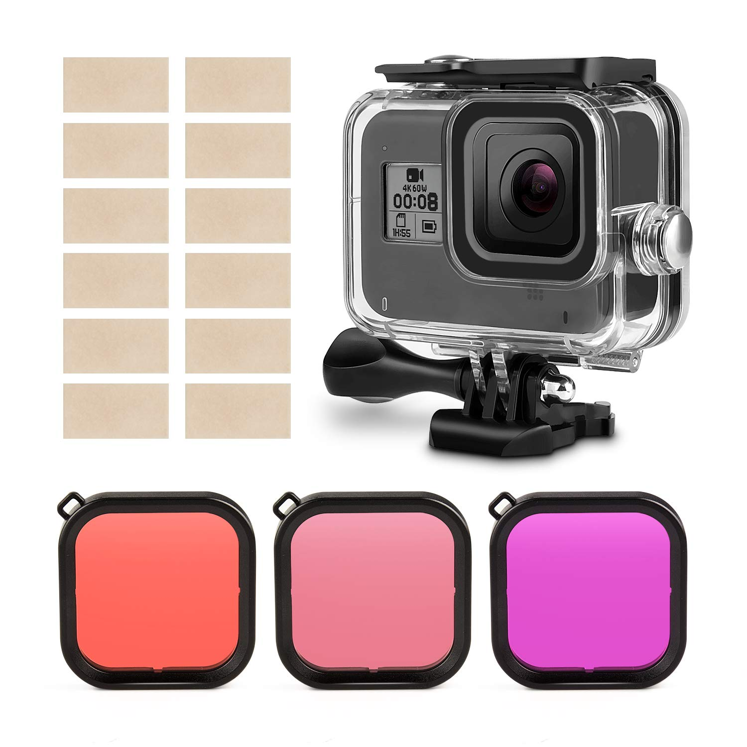 Head Chest Strap Floating Grip Silicone Sleeve Filters Waterproof Housing Case Bicycle Mount Suction Cup Mount Kupton Accessories Kit for GoPro Hero 8 Action Camera Accessory Bundle Set