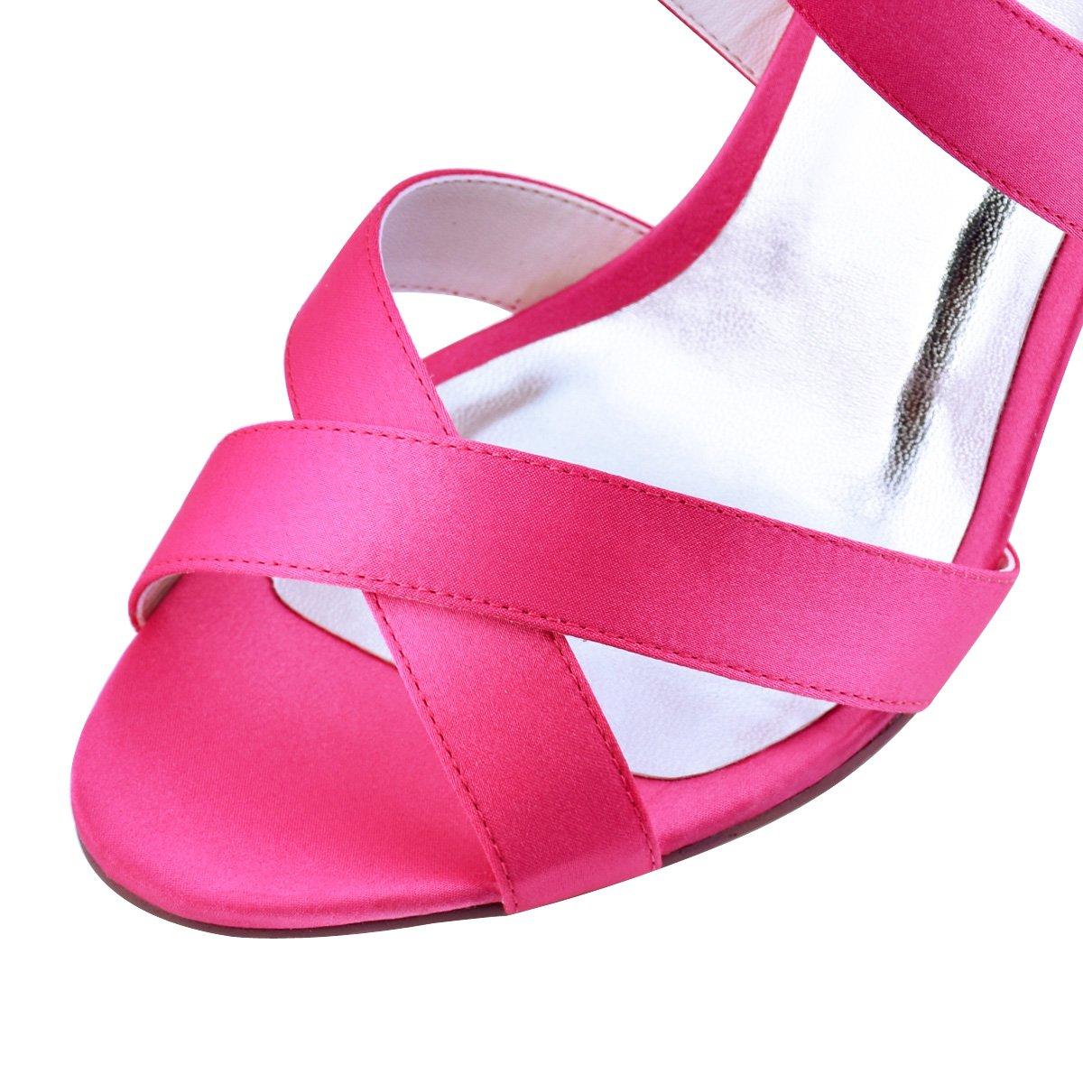 ElegantPark mujeres cruzada zapatos de 5774 correa tacón alto punta ...