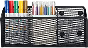 Magnetic Pencil Holder - 3 Generous Compartments Extra Strong Magnets Mesh Marker Holder Perfect for Whiteboard, Refrigerator and Locker Accessories