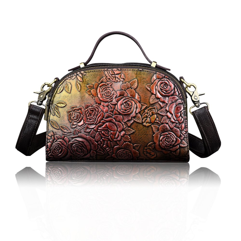 Crossbody Bag for Women Embossing Leather Shoulder Bags Satchels Handbag (Brown)