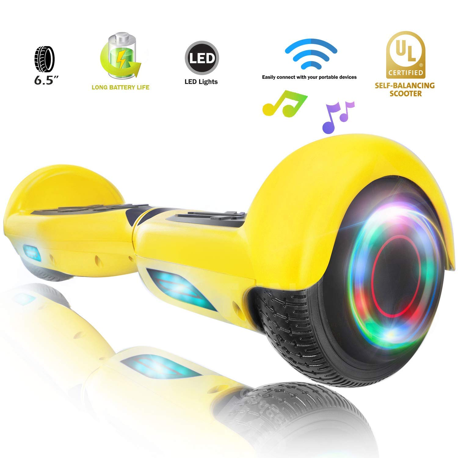 XPRIT Easter Sale Hoverboard w/Bluetooth Speaker (Yellow) by XPRIT (Image #1)