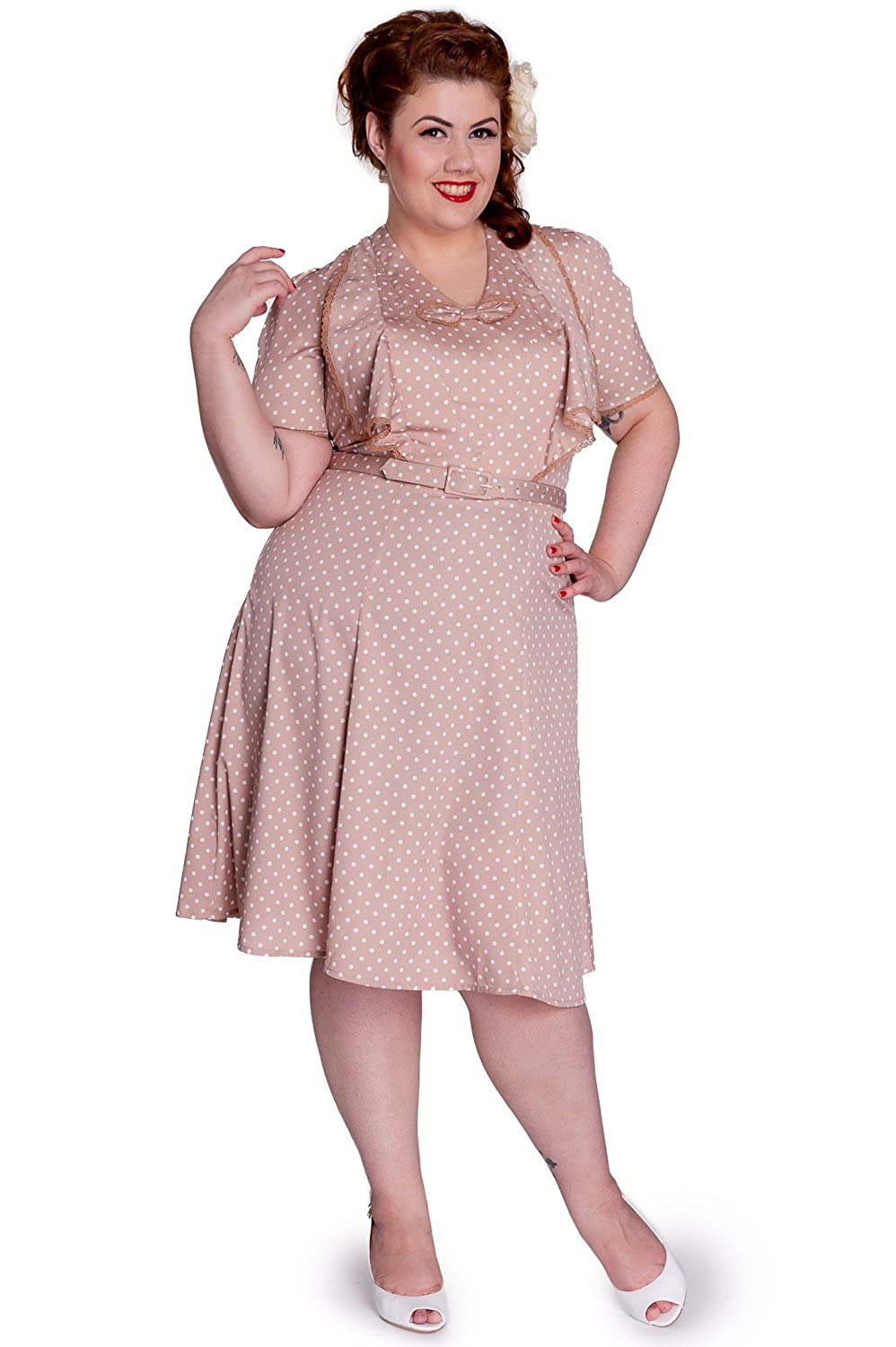 1940s Plus Size Fashion Advice Hell Bunny Jennifer 40s 50s Landgirl WW2 Retro Polka Dot Vintage Tea Party Dress £18.99 AT vintagedancer.com