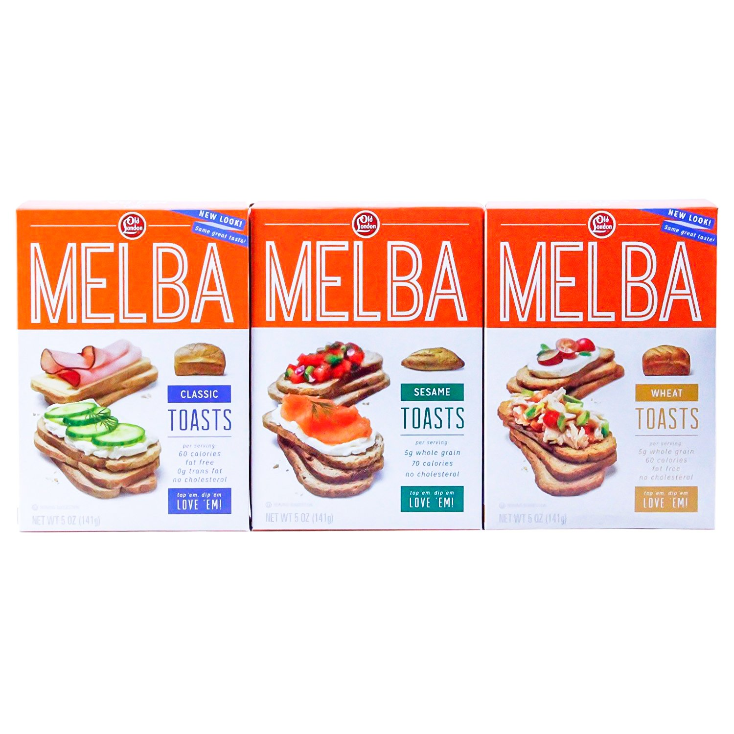 Old London - Melba Toast - Classic, Wheat, Sesame -VARIETY Pack -5 ounce (Pack of 3) by Old London