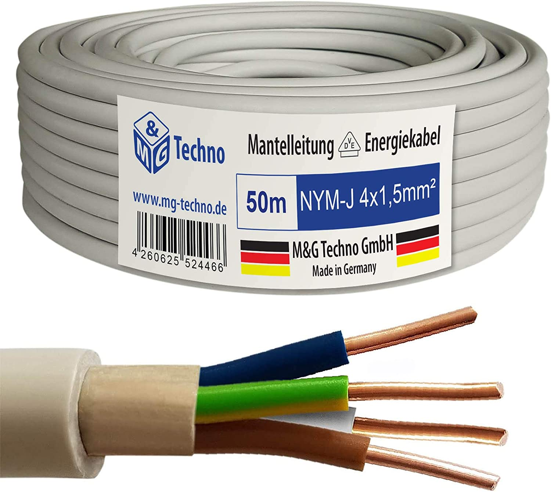 M/&G Techno 10m NYM-J 3x1,5 mm/² Mantelleitung Elektro Strom Kabel Kupfer eindr/ähtig Made in Germany