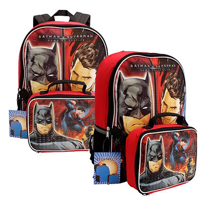 cfd571390bc4 Amazon.com  DC Comics Batman v Superman Backpack w  Detachable Lunch ...