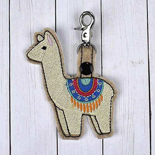 Amazon com: Llama Keychain machine embroidered: Handmade