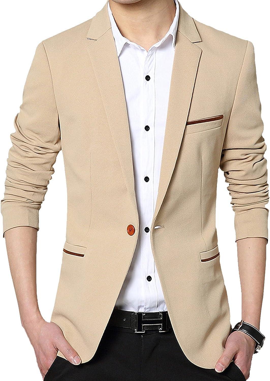 DAVID.ANN Men's Slim Fit Casual Jacket Button One Blazer Rare wholesale