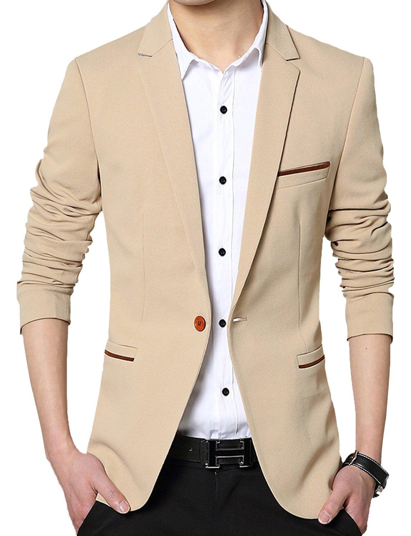 DAVID.ANN Men's Slim Fit Suits Casual One Button Flap Pockets Solid Blazer Jacket,Khaki,Large