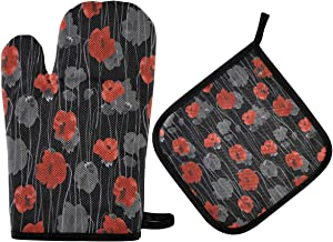 DOMIKING Oven Mitts Pot Holders Sets - Red Gray Flowers of Poppies Hot Gloves Heat Resistant Hot Pads Non-Slip Potholders for Kitchen Cooking BBQ