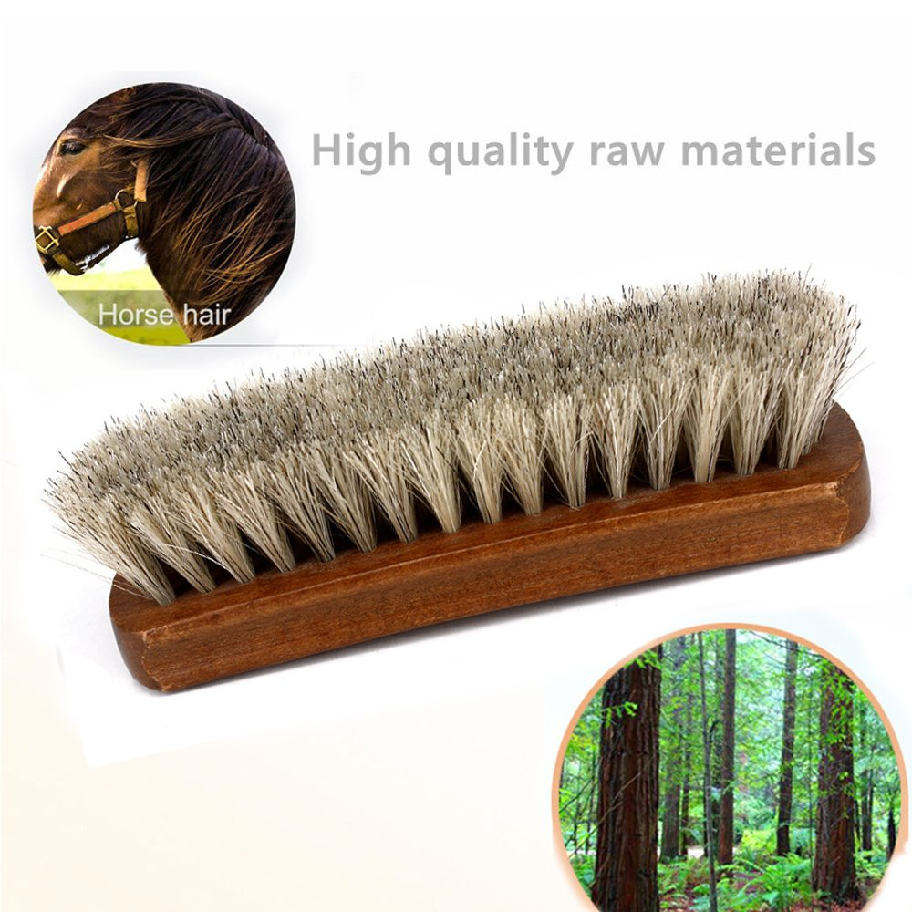 Shoe Shine Brushes MoYag Large Professional Horse Hair Brushes for Shoes, Boots & Other Leather Care by MoYag (Image #3)