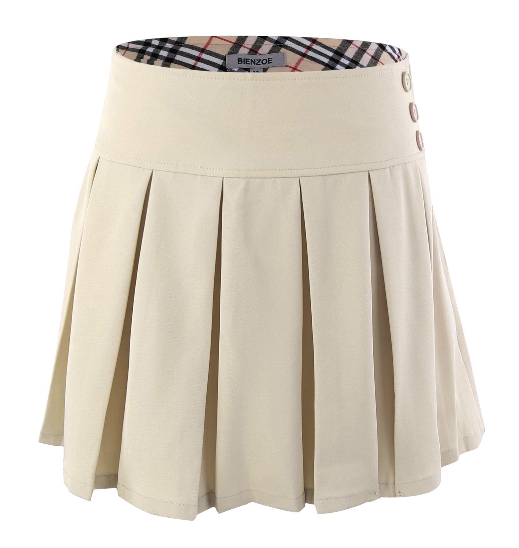Bienzoe Girl's Stretchy Pleated Adjustable Waist School Uniforms Skirt Khaki 12 by Bienzoe