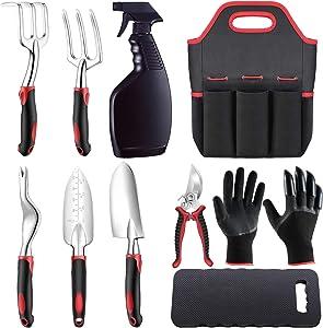 AFAKE Garden Tools Set for Men and Women,Gardening Gifts,Gardening Kit with Gardening Gloves,Garden Tote,Kneeling Pad,Hand Pruner,Trowel,Hand Rake,Weeder,Fork,Transplanter,Spray Bottle