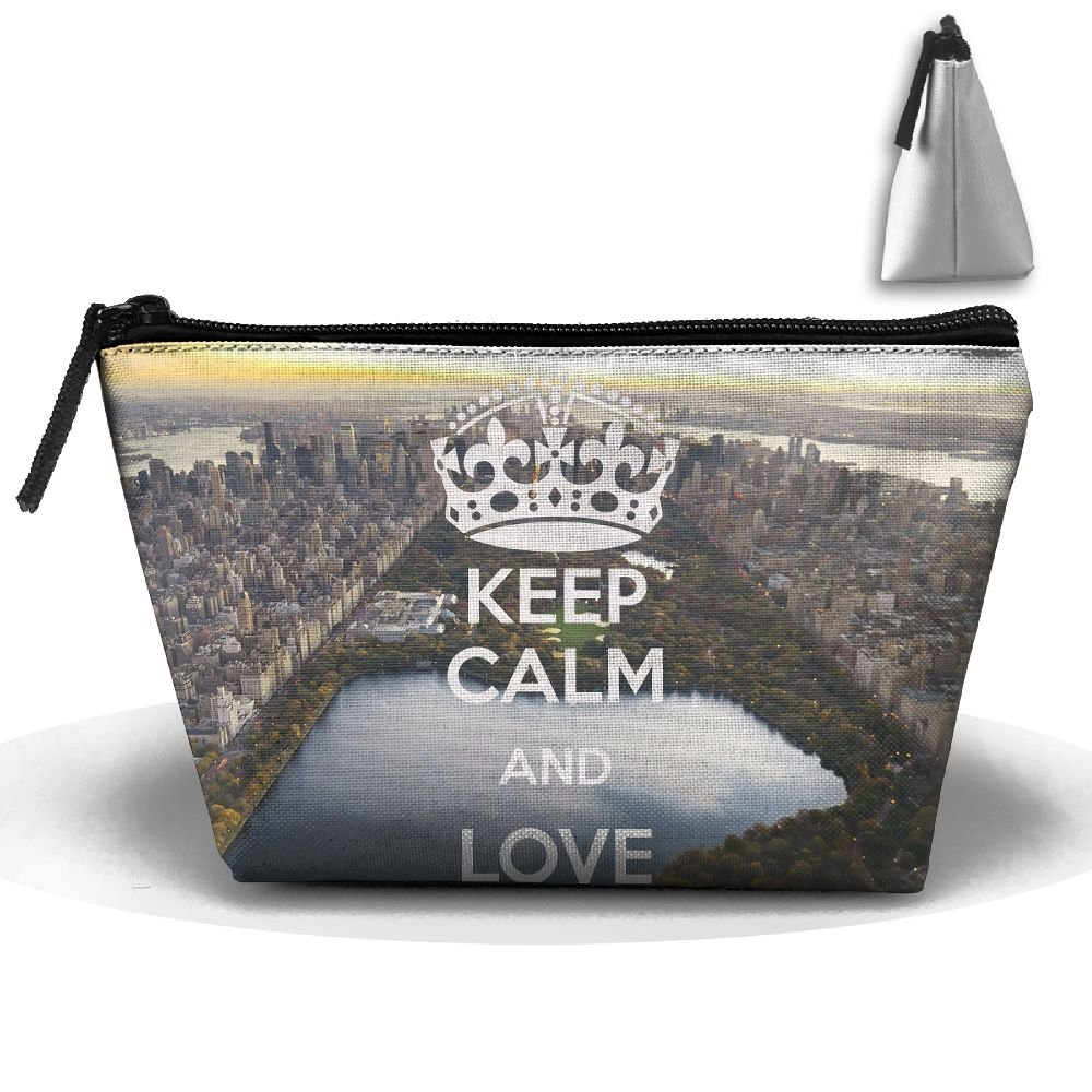 Trapezoidal Toiletry Pouch Makeup Travel Cosmetic Bag Keep Calm Love New York Portable Phone Coin Storage