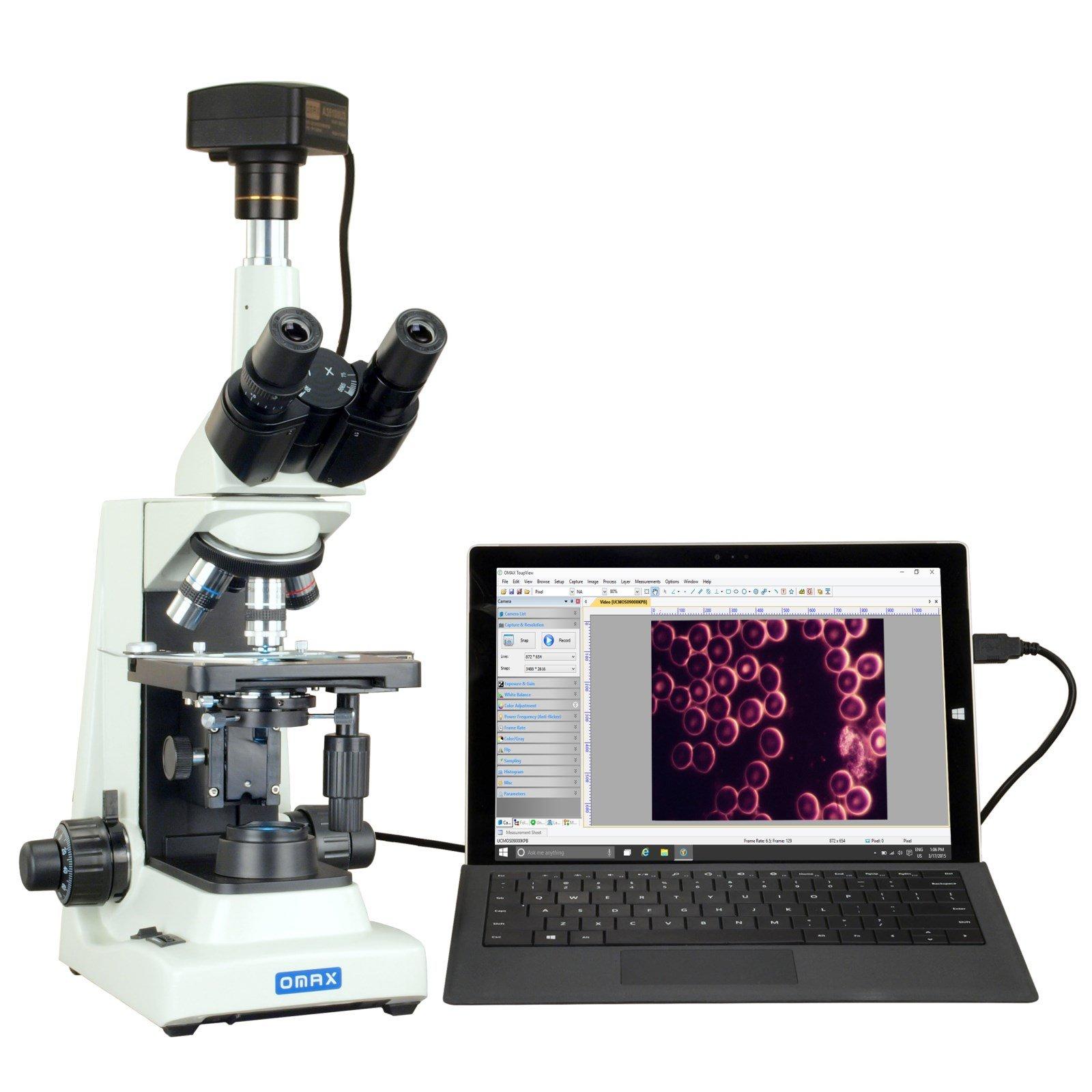 OMAX 40X-2000X USB3 18MP Plan Trinocular Darkfield Super Bright LED Lab Microscope for Live Blood by OMAX
