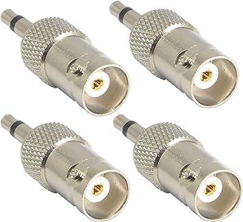 Adaptador mono a BNC de 3,5 mm, conector BNC hembra a conector TS macho de 1/8 pulgadas, conector bidireccional de níquel para antena radio CCTV DVR y ...