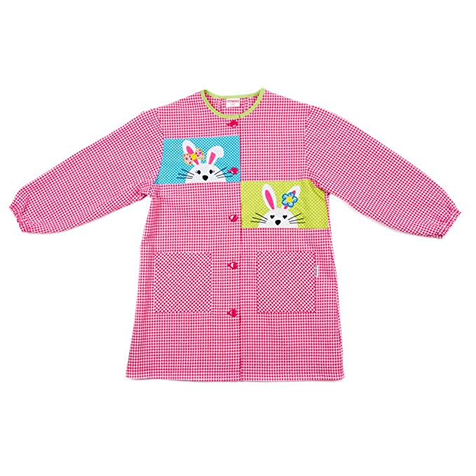 Dyneke Bata escolar botón rosa Conejitos bordados (personalización opcional gratuita con nombre bordado)(