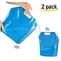 Amison 2x Bidon d'eau pliable portable pliable eau potable [5L + 10L] Réservoir à eau réservoir d'eau pour Randonnée Camping Pique-nique Travel BBQ