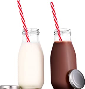Juvale 12-Pack 11 Ounce Glass Milk Dairy Bottles with Lids and Straws