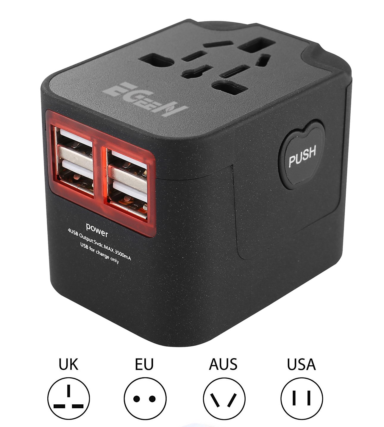 Universal Travel Adapter,Wall Power Converter Plug with 4 USB Charging Ports,AC Power Outlet Electric Wall Charger for Europe USA UK Australia (black),Built-in Fuse by Egeen