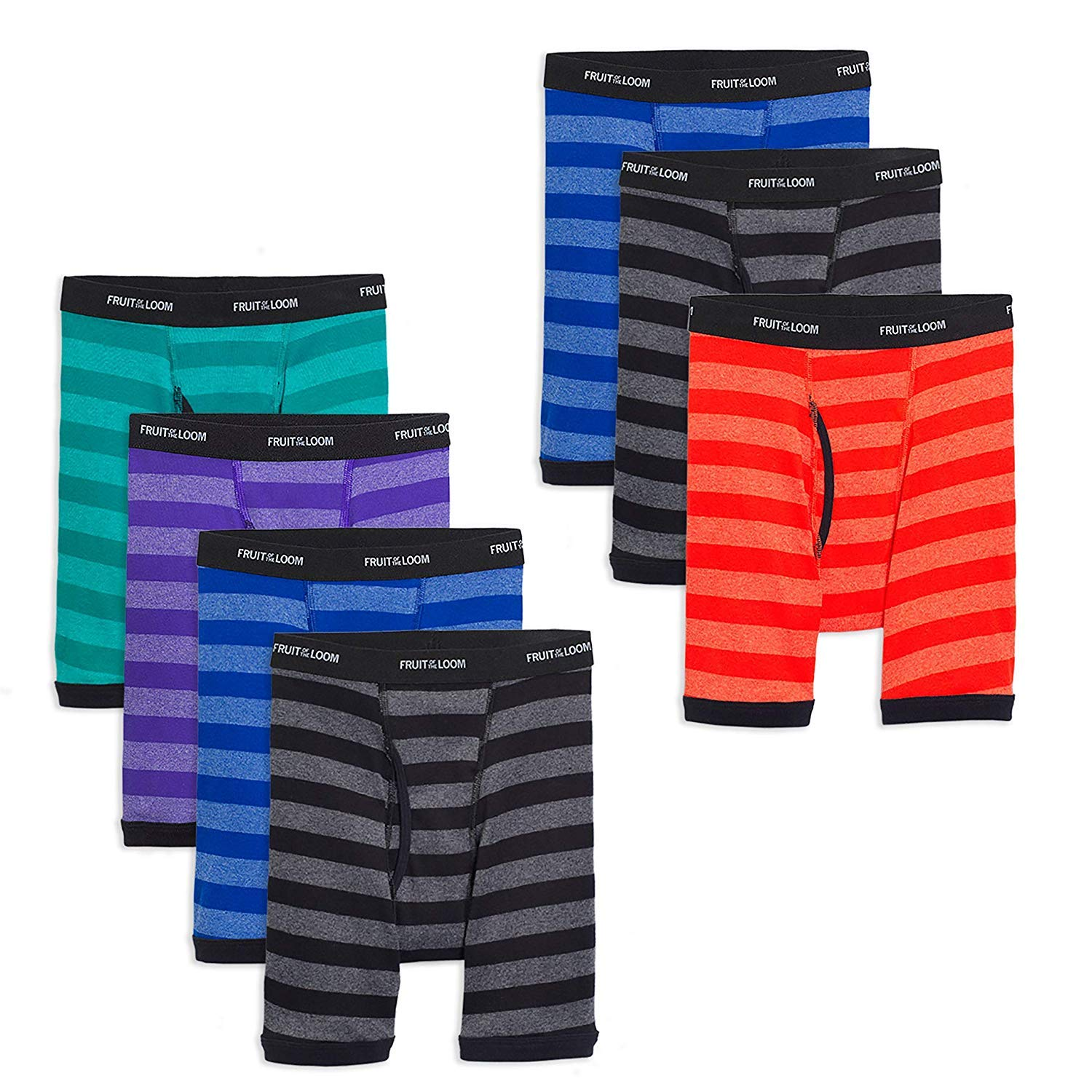 Fruit of the Loom Boys Cotton Boxer Brief Underwear (Medium (Waist (25-26)), Stripes - Assorted (Pack of 7))
