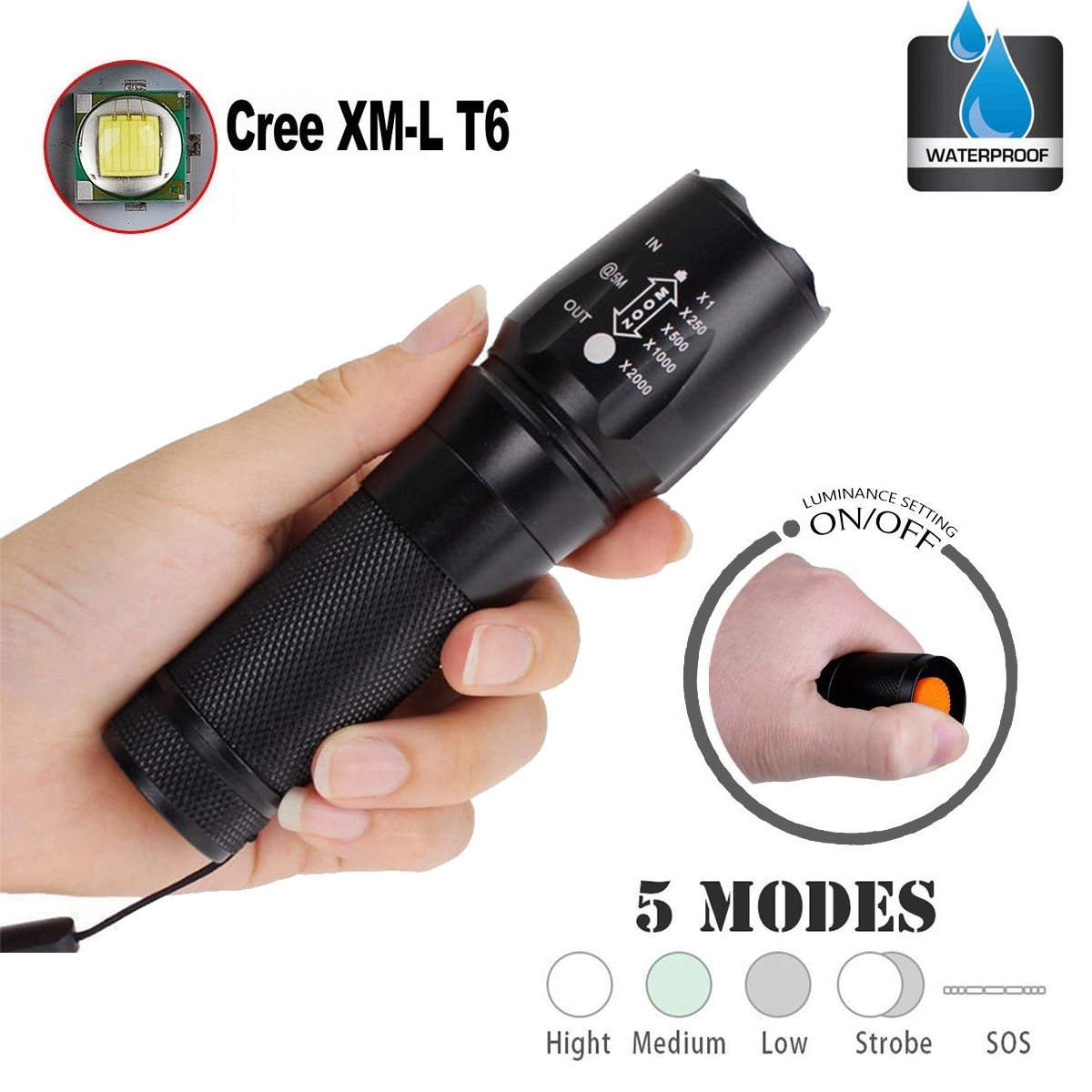 TOPIA STAR Powerful Flashlight, Professional Outdoor Warerproof Rechargeable Led Flashlight by TOPIA STAR (Image #3)