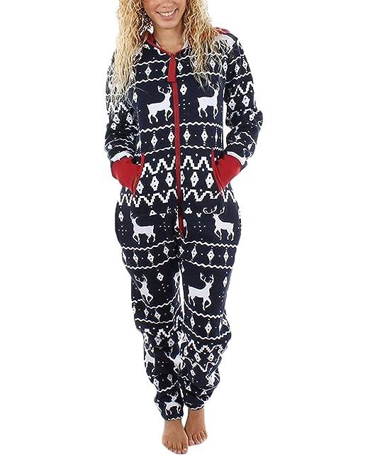 Battercake Monos Conjunto De Pijama De Navidad Hombre Tallas Grandes Suelto Casuales Mujeres De Dormir Jumpsuit Cremallera Impresión Reno Pijamas Navideños ...