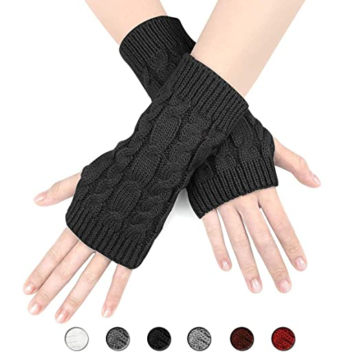 370d45543 Women's Cable Knit Fingerless Glove - Thumbhole Short Arm Warmer soft warm  mitten
