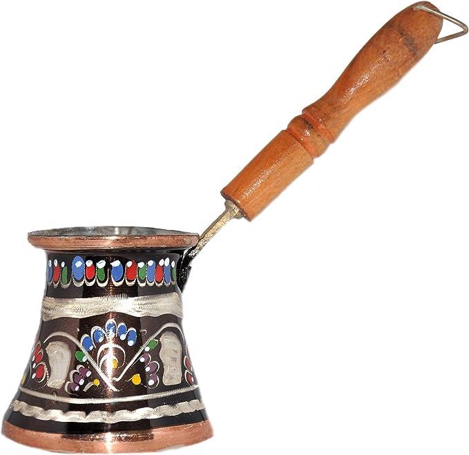 Erzincan - Cafetera turca de cobre - Cezve martillado hecho a mano con mango de madera 240 ml 240 ml.: Amazon.es: Hogar