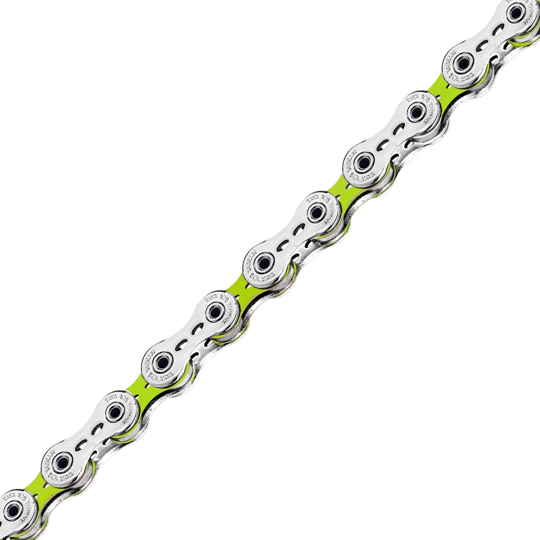 Taya 10 Speed DECA-101(UL) Bike Chain- Silver/Color, 116L Road (Silver Yellow Green)