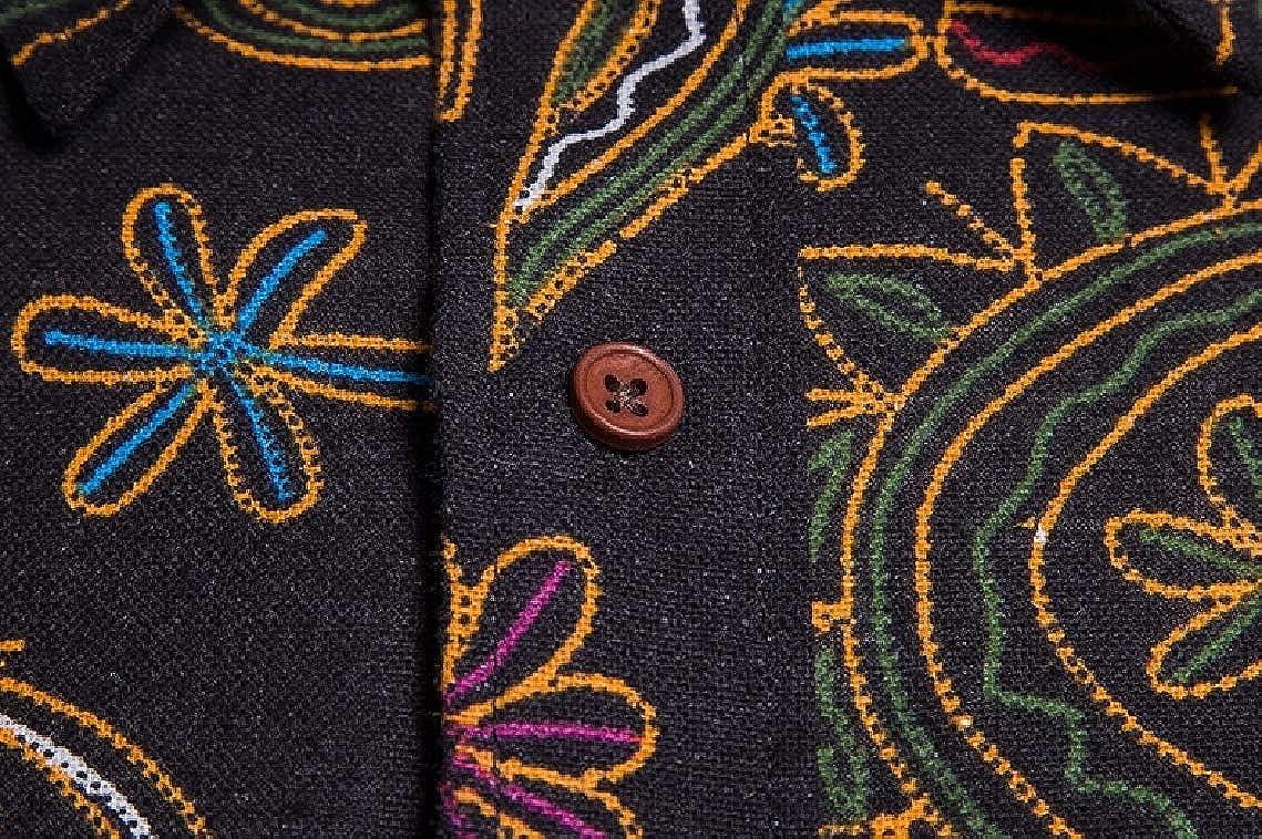 Freely Mens Plus Size 2-Piece Linen Ethnic Style Button Down Shirt