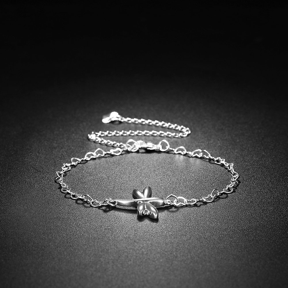 Greendou Fashion Jewelry 925 Sterling Silver Plated Cute Dragonfly Heart Chain Bracelet//Anklet