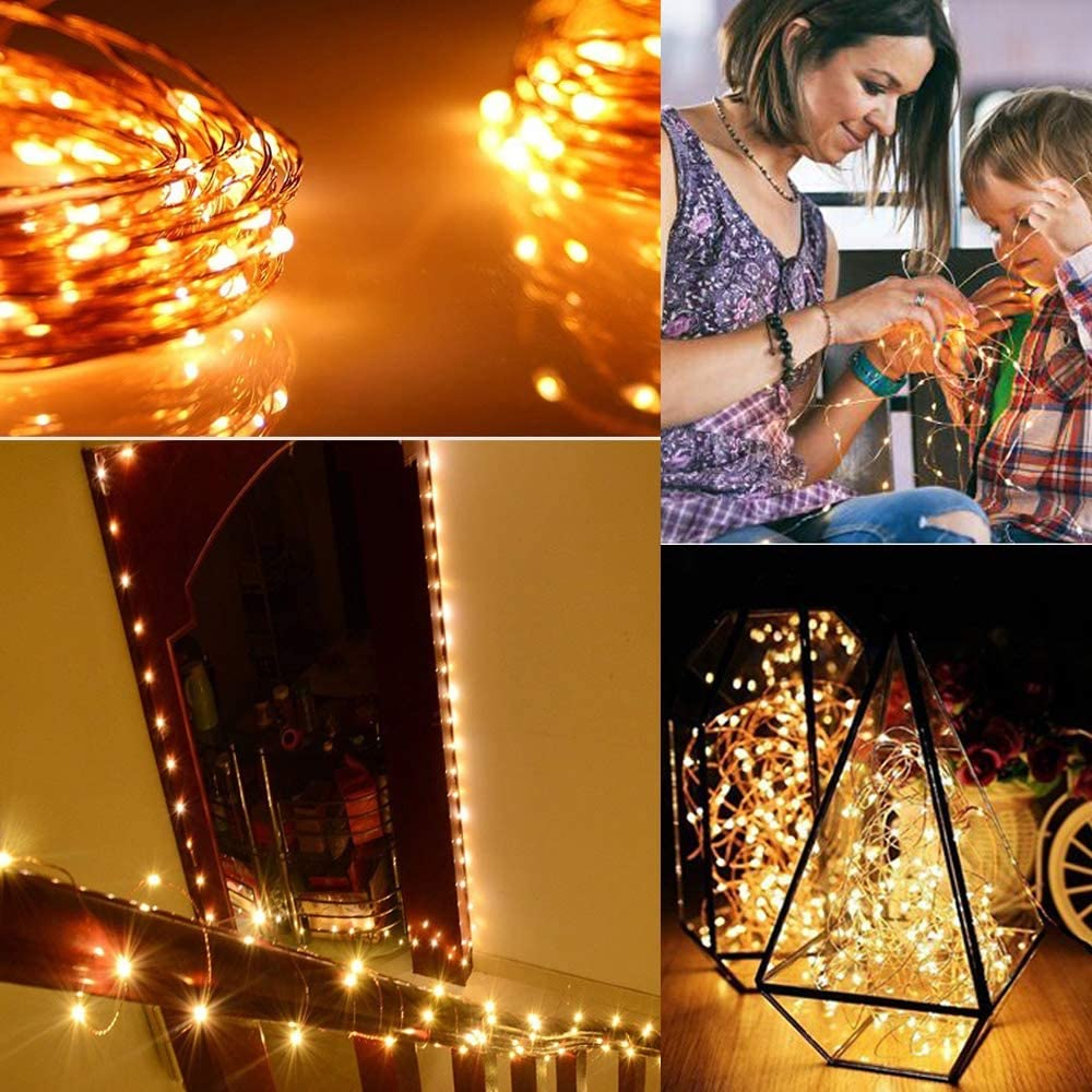 Warm White with Music Fairy Lights Fairy String Lights with Remote Control 8 Modes 50 LED 16.4ft Copper Wire Lighted for Christmas Holiday Wedding Parties Holiday Decorative