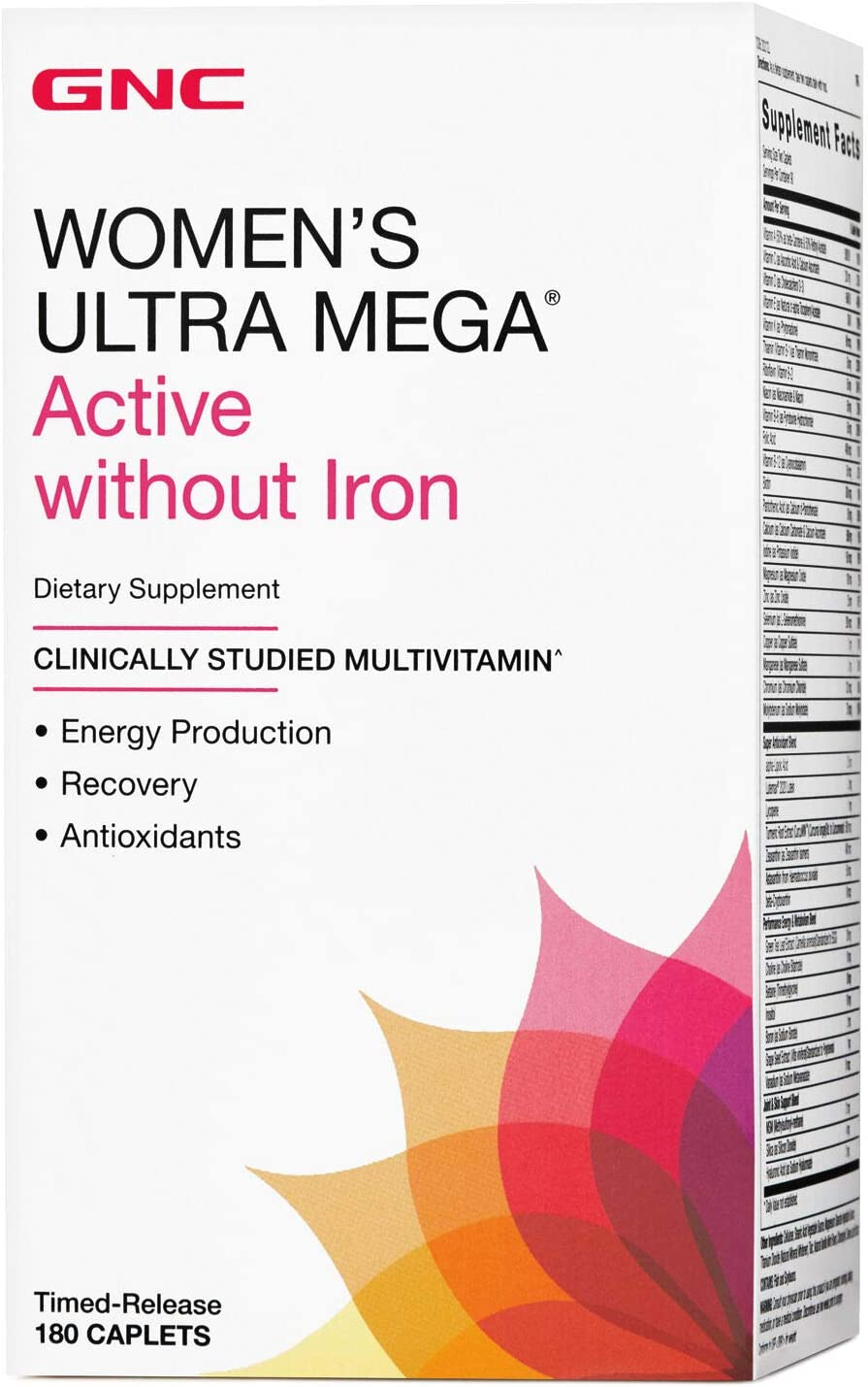 GNC Womens Ultra Mega Active Without Iron Multivitamin for Women, 180 Caplets, for Increased Energy, Metablism, and Calorie Burning