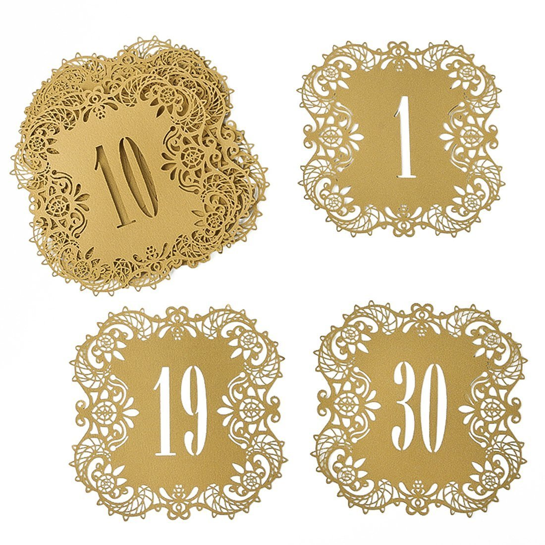 Hyaline&Dora Laser Cut Wedding Table Card Numbers Lace Table Cards for Wedding Reception Party Favors (Beige Gold number1-10) LTD