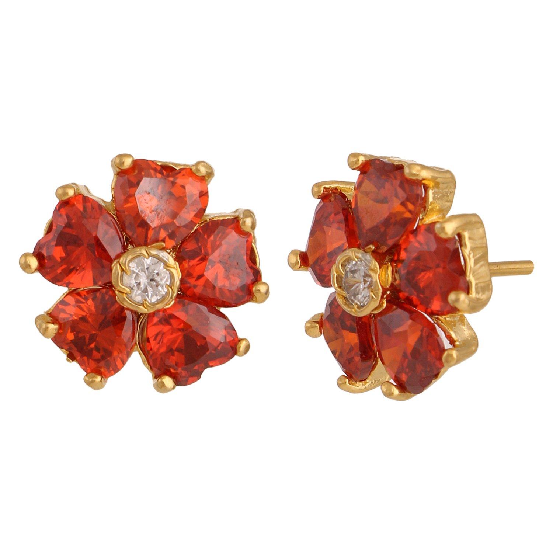 Efulgenz Stud Earrings 14 K Gold Plated Hypoallergenic Cubic Zirconia Dainty Flower Garnet Daisy Studs Pierced for Women Girls