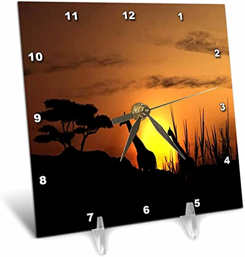 3dRose dc_98602_1 Pair of Giraffes in The African Sunset.Jpg-Desk Clock, 6 by 6-Inch