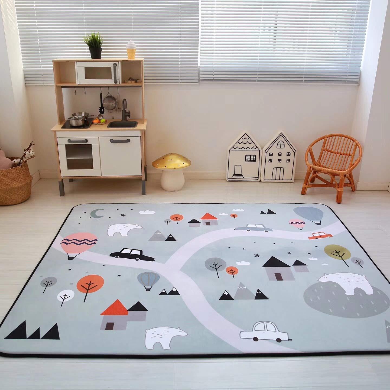 Vier Seasons Samtiger Langsamer Rebound Verdickte Wohnzimmer Matte Kind Rutschfest Kriechntes Pad Baby-pad Game Carpet Rund 150  195cm Puzzle-Park Arctic circle
