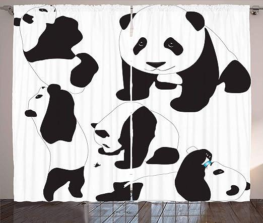 ABAKUHAUS Zoo Panneaux de Rideaux, Bébé Pandas Adorable ...