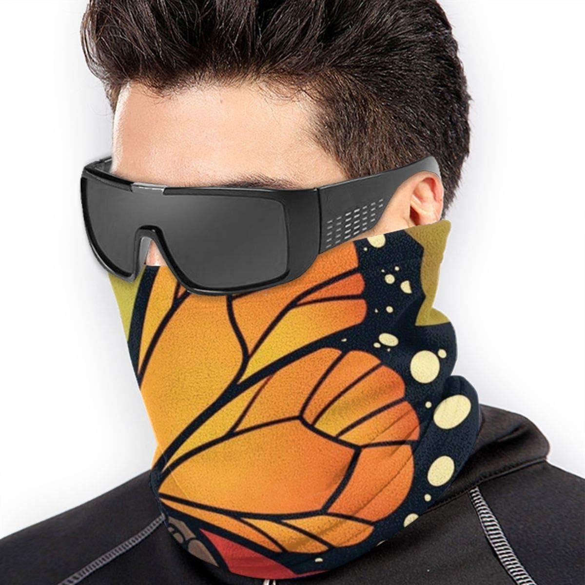 Butternfly and Flower Microfiber Neck Warmer Balaclavas Soft Fleece Headwear Face Scarf Mask for Winter