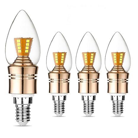 Bombilla LED de candelabro E14 de 60 W equivalente a bombilla, 7 W, luz