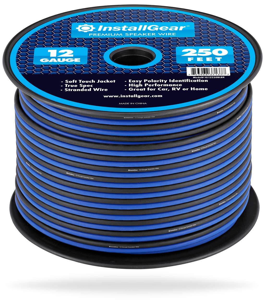 InstallGear 12 Gauge Speaker Wire (250-feet - Blue/Black) by InstallGear
