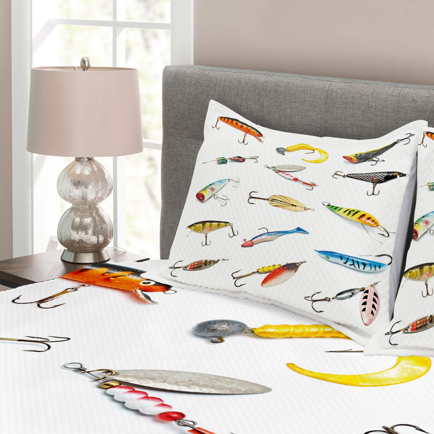 Multicolor Several Fish Hook Equipment Objects Trolling Angling Netting Gathering Activity Ambesonne Fishing Bedspread Set King Size Decorative Quilted 3 Piece Coverlet Set with 2 Pillow Shams