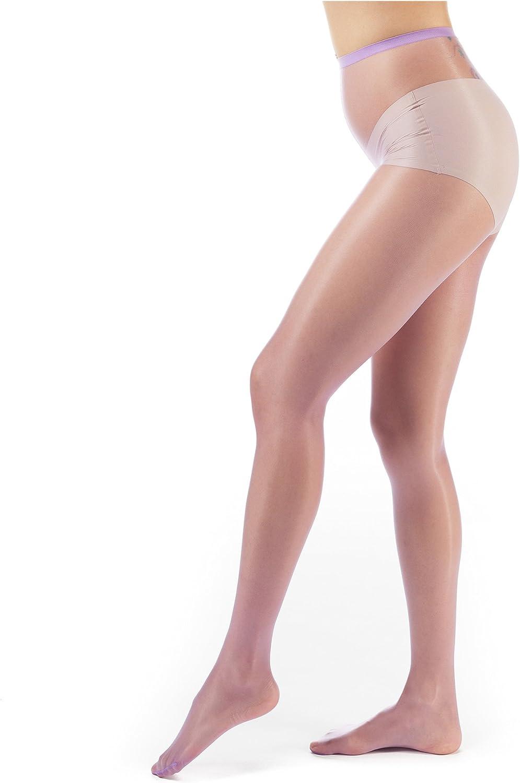 ElsaYX Collant da donna effetto lucido senza tassello in cotone