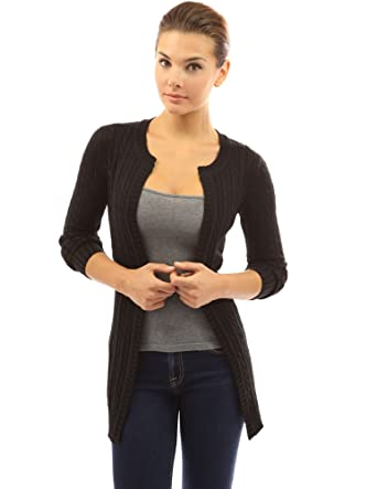 7d6aa8fc3c4 PattyBoutik Women s Cable Knit Open Front Cardigan (Black ...