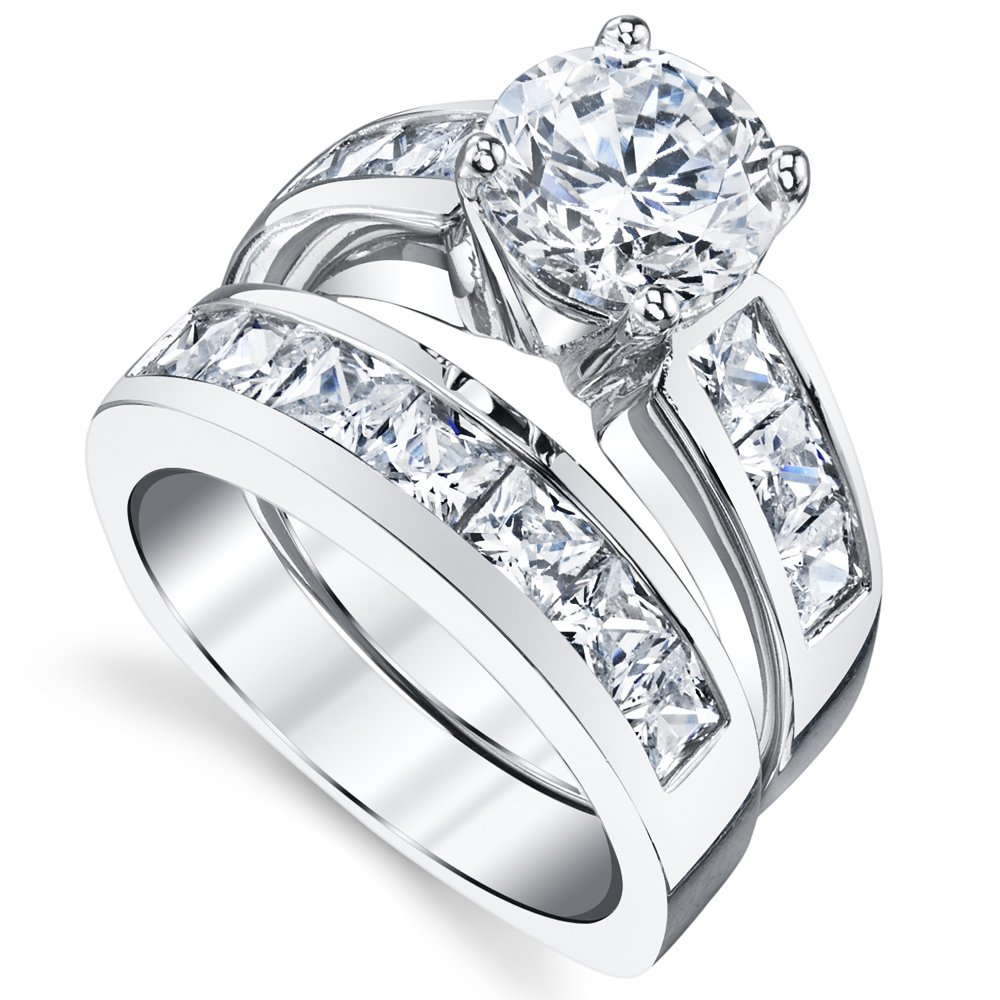 Sterling Silver Bridal Set Engagement Wedding Ring Bands with Round and Princess Cut Cubic Zirconia 7 by Bonndorf (Image #2)