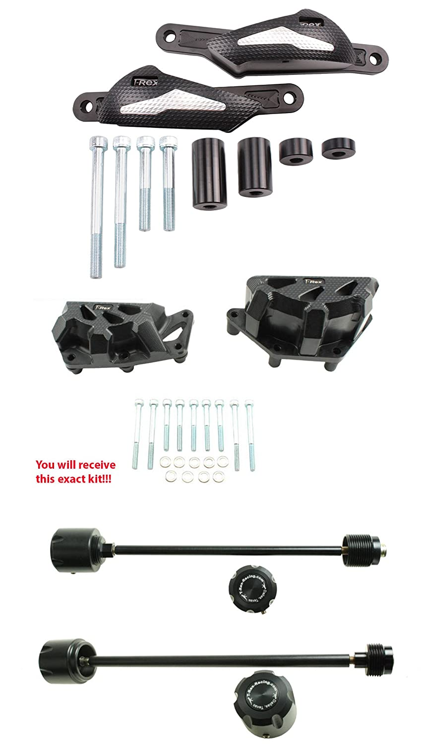 On Yamaha XSR900 No Cut Frame Front Rear Axle Sliders Spools T-Rex Racing 2016